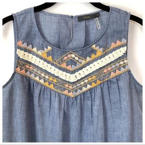 THML Embroidered Chambray Sleeveless Boho Top S